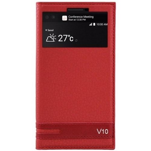 LG V10 Kılıf Kapaklı Pencereli Mıknatıslı Kırmızı
