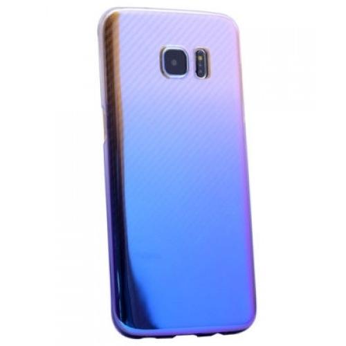 Samsung Glaxy S7 Edge Kılıf Renkli Transparan Kapak Mavi