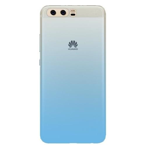 Huawei P10 Renkli Transparan Kapak Açık Mavi Kılıf