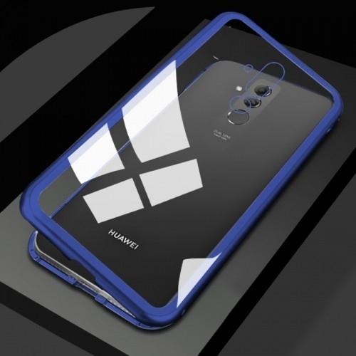 Huawei Mate 20 Lite Kılıf Mıknatıslı 360 Tam Koruma Devrim Kapak Mavi